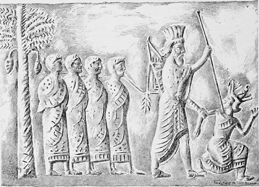 "Cambyses II of Persia capturing pharaoh Psamtik III from ""Persian seal, VI century BCE""."