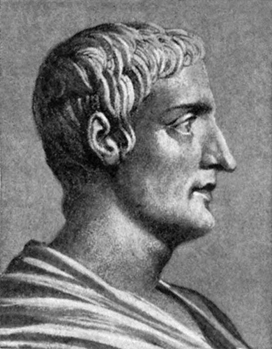 Drawing of the Roman historian Cornelius Tacitus by an unknown illustrator.