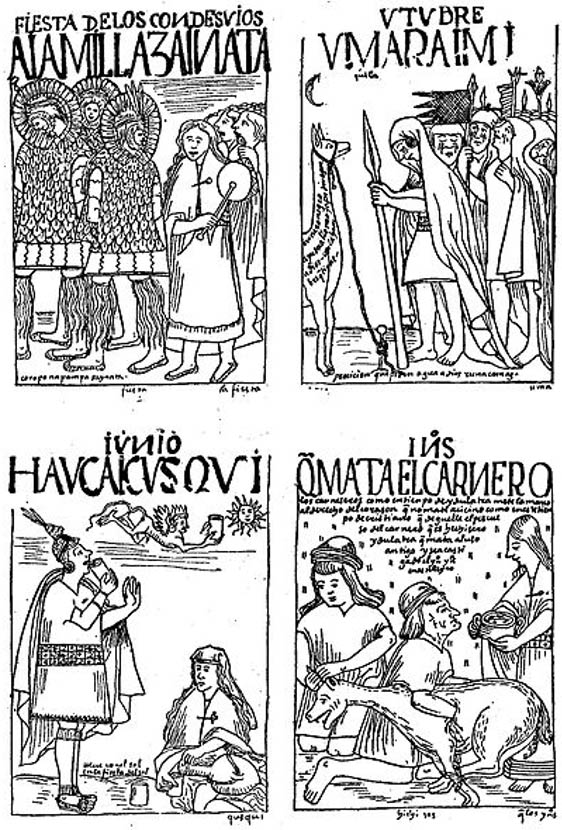 Four Incan ceremonies as depicted by Felipe Guaman Poma de Ayala. (1615)