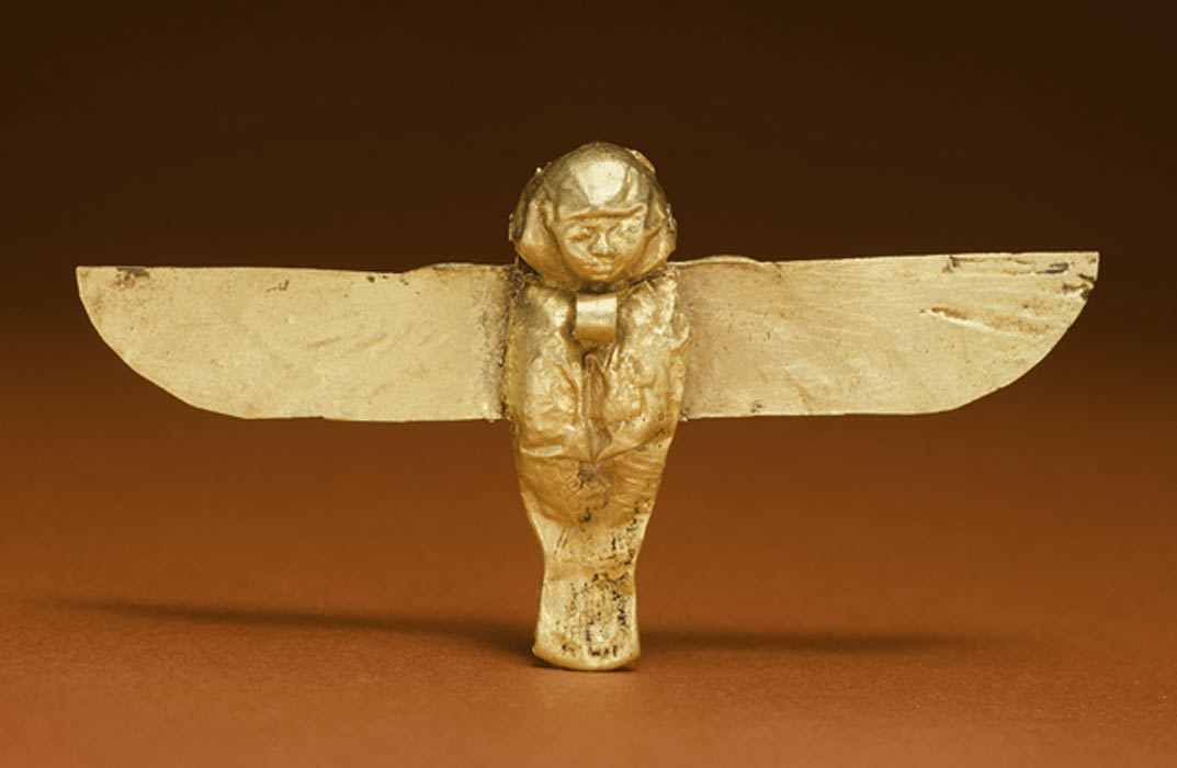 Golden Ba amulet from the Ptolemaic period.