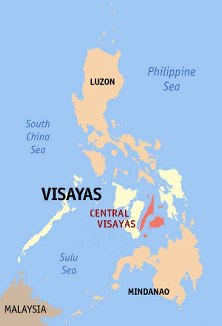 Map of the Philippines showing the location of Visayan Islands
