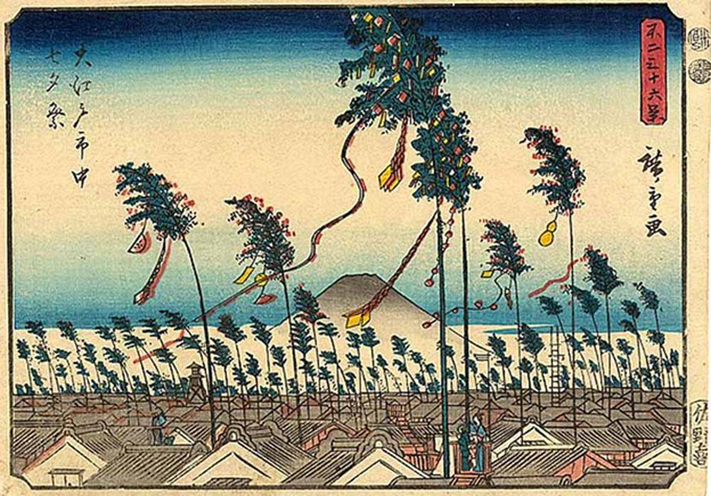 Japanese woodblock print of Tanabata festivities in Edo (Tokyo), 1852.