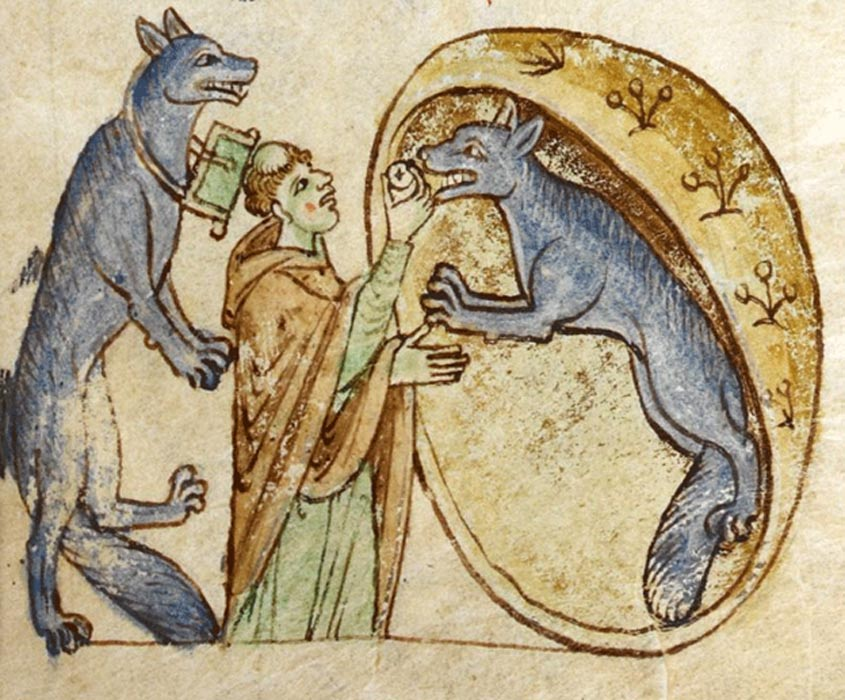 An illustration from Topographia Hiberniae depicting the story of a traveling priest who meets and communes a pair of good werewolves.