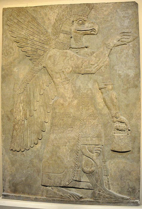 ​Wall relief depicting an eagle-headed and winged man, Apkallu, from Nimrud.