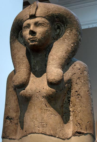 Colossal bust of Queen Ahmes-Merytamun (Ahmose-Meritamon), wearing a Hathor-wig. 18th dynasty, circa 1550 BC.