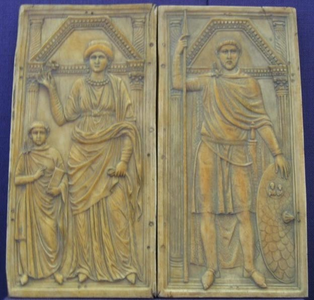 The ivory diptych of Stilicho (right) with his wife Serena and son Eucherius, ca. 395
