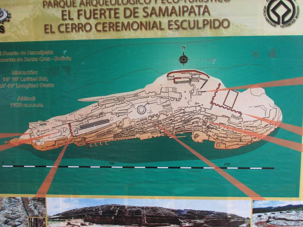 An overview map of Samaipata in Bolivia.