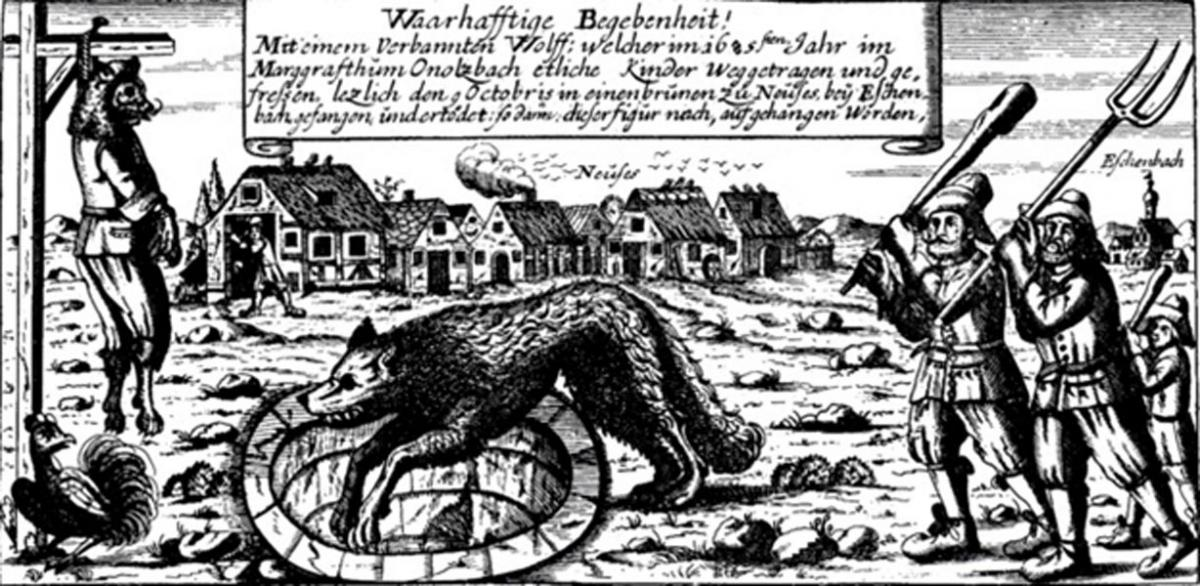 17th century print showing werewolf hunting in Germany
