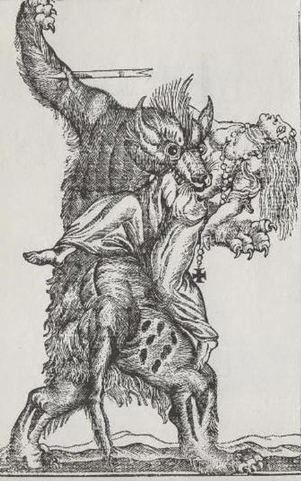 A werewolf devouring a woman 19th century engraving.