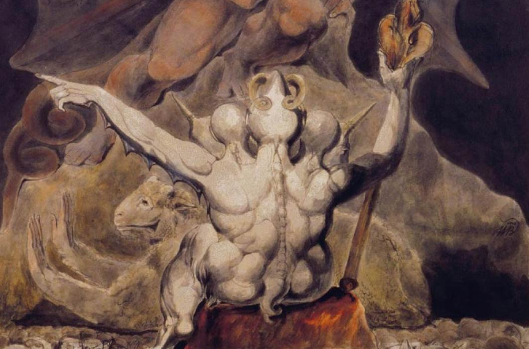 Detail of 'The Number of the Beast is 666' by William Blake (1805). Rosenbach Museum & Library ( Public Domain)