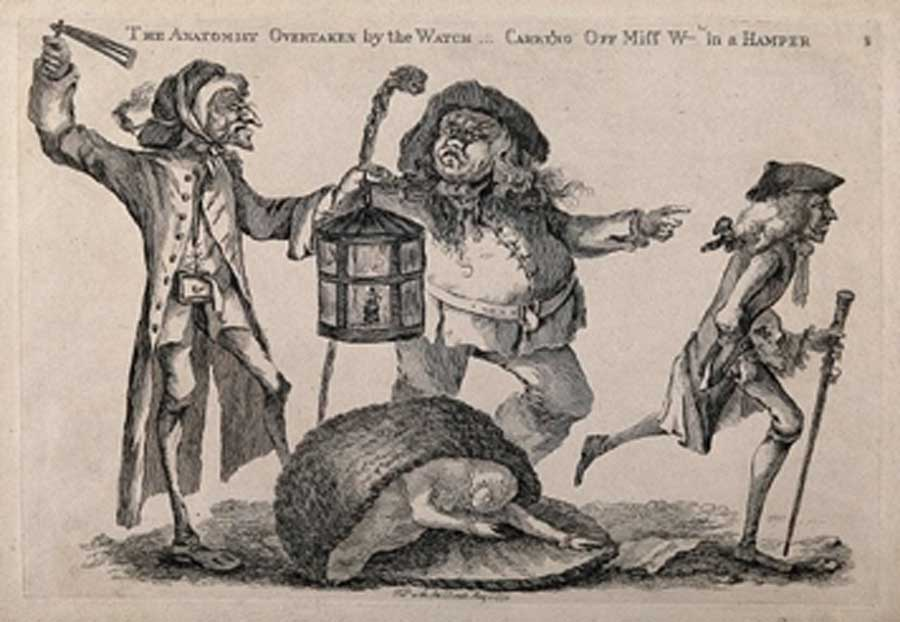 A nightwatchman disturbs a body snatcher who has dropped the stolen corpse he had been carrying in a hamper, while the anatomist, William Hunter (1718-1783), runs away. Etching with engraving by W. Austin, (1773) (Wellcome Images / CC BY-SA 4.0)