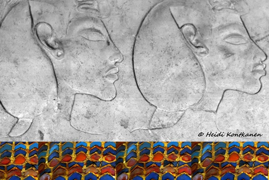 A sculptor's limestone trial piece with sunk-relief depictions of (some believe) two Amarna Kings - Akhenaten and Smenkhkare. This could also be a double portrait of Akhenaten alone. The border below comprises surface decoration from the Tomb 55 coffin. Egyptian Museum, Cairo.