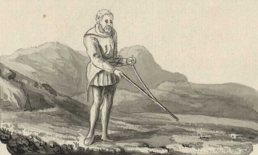 A tour in Wales by Thomas Pennant (1726-1798) depicting dowsing (Public Domain)