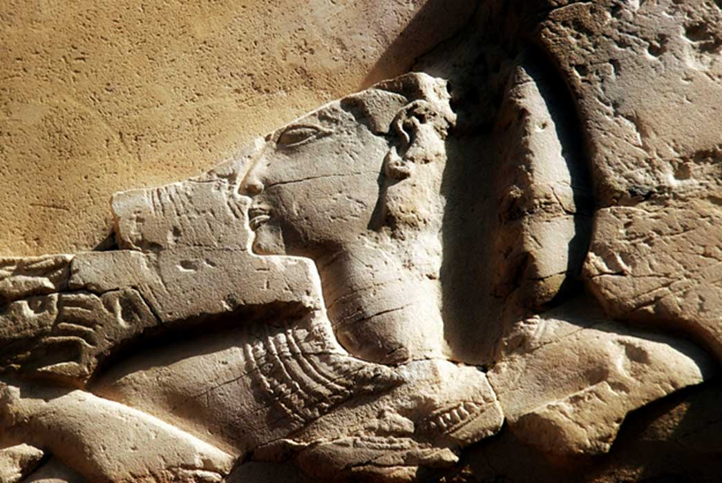 A damaged relief from his palace-cum-mortuary temple at Medinet Habu shows King Ramesses III making offerings to the gods; design by Anand Balaji