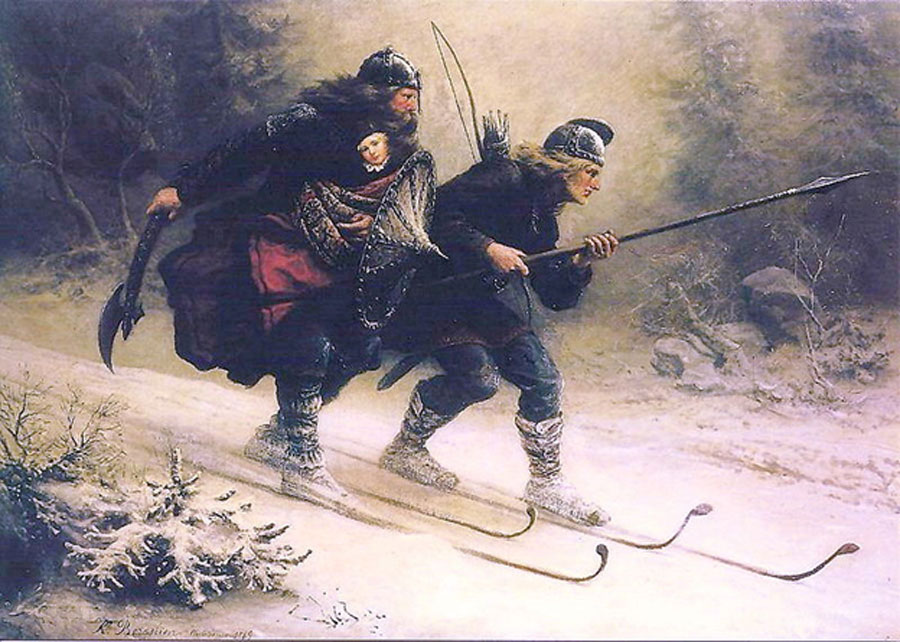 According to legend, the top two Birkebeiner skiers, Torstein Skjevla and Skjervald Skrukka, took Håkon Håkonsson (the king's son) to safety with King Inge II at Christmas by Mayer Bruno. (1869) (Public Domain)
