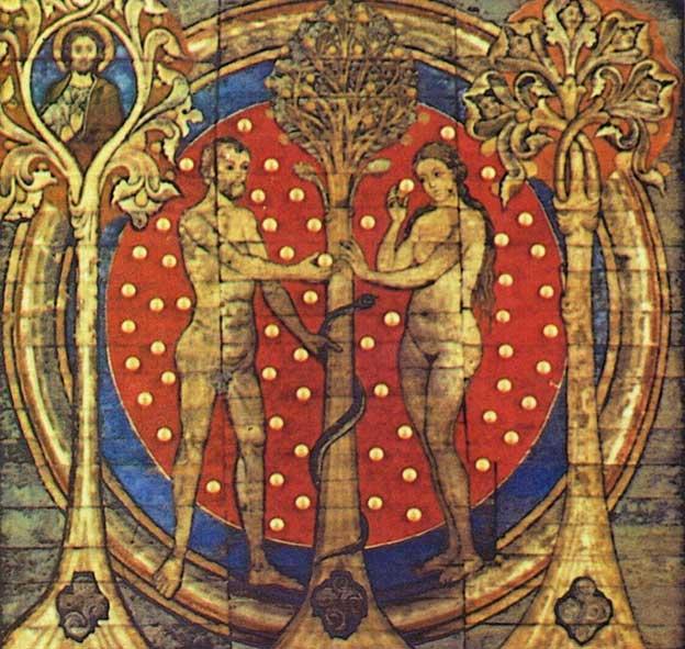 Adam and Eve: Benedictine monastery St. Michael's Church, Hildesheim, Germany (Public Domain)
