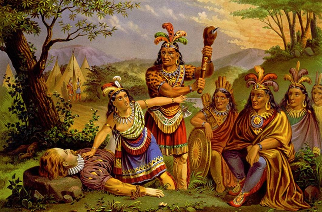 Pocahontas saves the life of John Smith in this chromolithograph, credited to the New England Chromo. Lith. Company around (1870). (Public Domain)