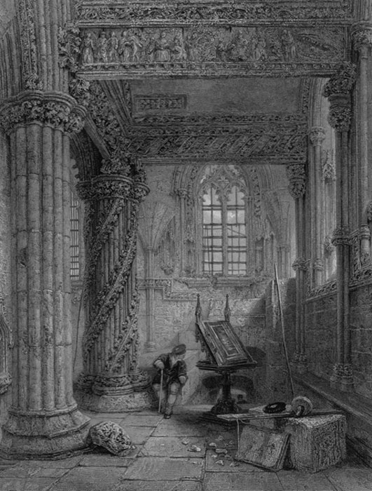 An interior view showing the Apprentice Pillar and ornate carvings by Roger Griffith - Heaths Picturesque Annual (1835) (Public Domain)