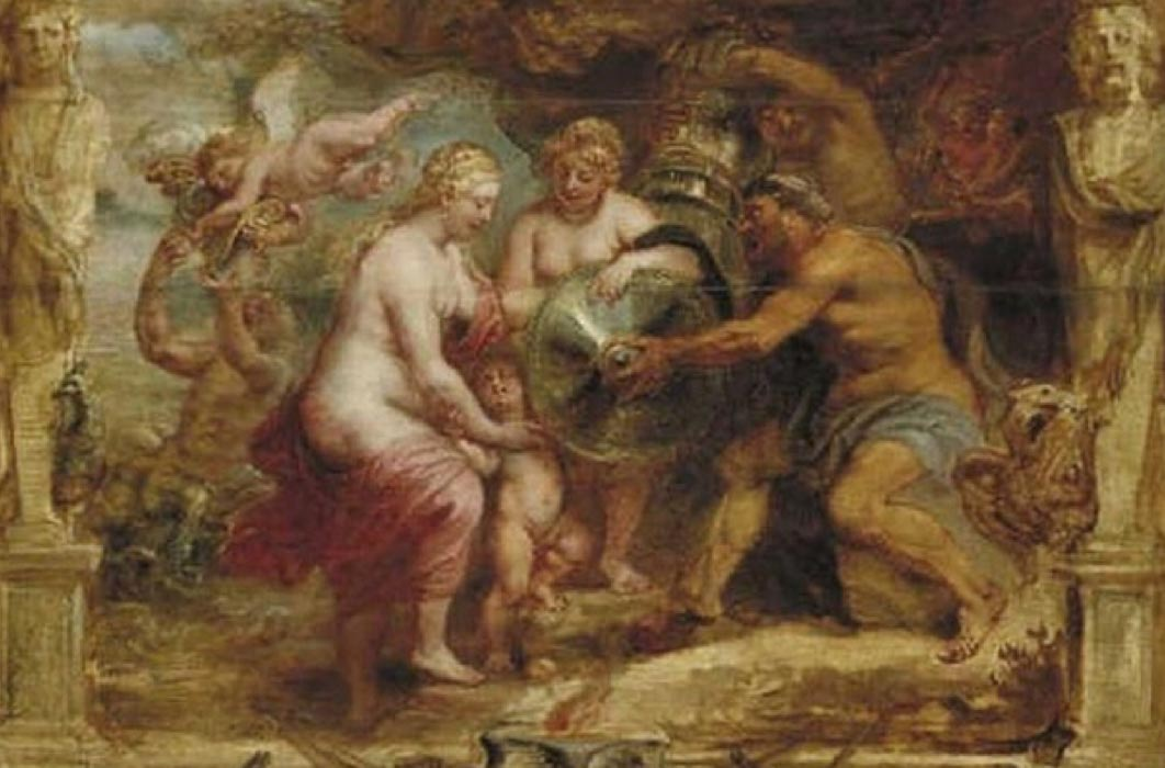 Thetis receiving the arms of Achilles from Hephaestus by Peter Paul Rubens (1630)