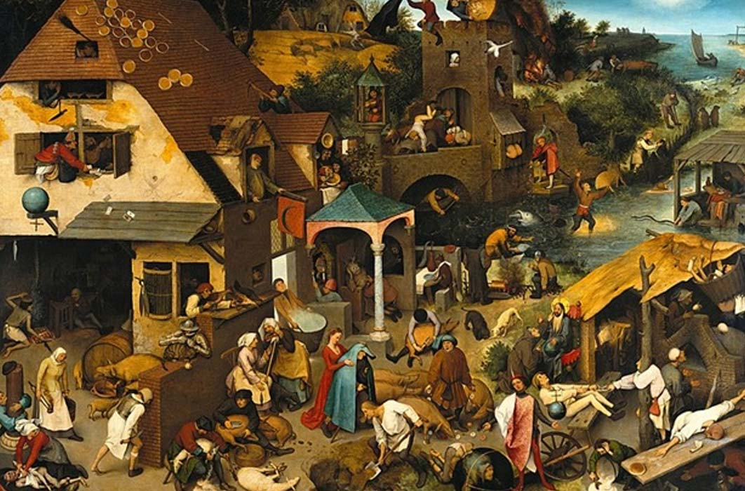 The Blue Cloak or The Topsy Turvy World, painted by Pieter Breugel the elder (1559) Gemäldegalerie, Berlin. (Public Domain)