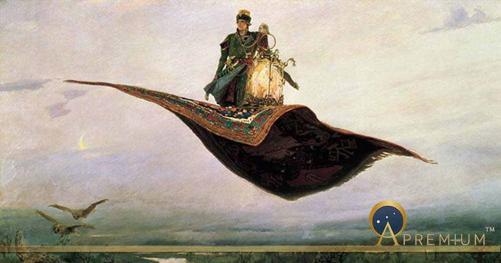 The Flying Carpet, a depiction of the hero of Russian folklore, Ivan Tsarevich 1880 by Viktor Vasnetsov (Public Domain)
