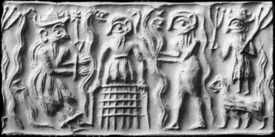 Ancient Sumerian cylinder seal impression showing the god Dumuzid being tortured in the Underworld by galla demons (Public Domain)