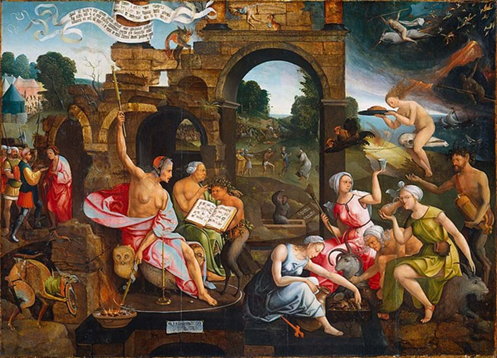 Saul and the Witch of Endor. Inside a magic circle, the witch, sitting on a throne of owls, practices her witchcraft by Jacob Cornelisz van Oostsanen (1526) Rijksmuseum