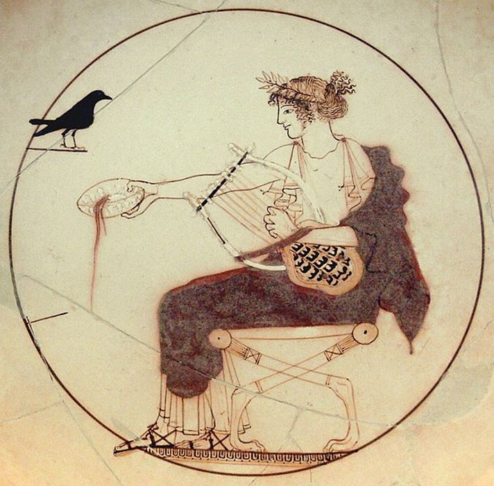 Apollo holds a kithara in his left hand and pours a libation with his right hand. From a tomb (probably that of a priest) in Delphi. Archaeological Museum of Delphi. (CC BY-SA 2.0)