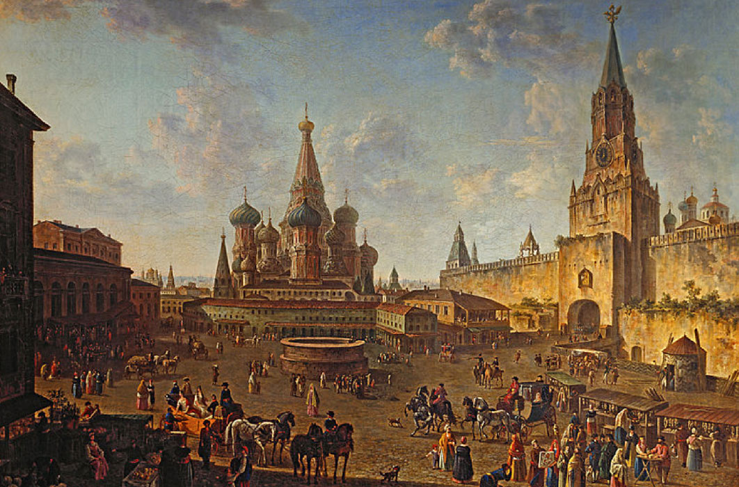 Red Square in Moscow by Fyodor Alekseyev  (–1824)(Public Domain)
