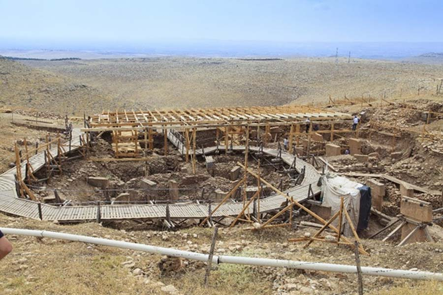 Archaeological excavations uncovering Göbekli Tepe from mountains of earth  (view / Abode Stock)