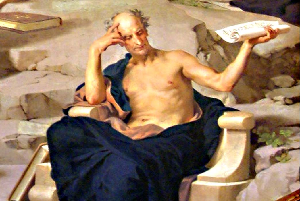 Aristotle, part of a wall painting, circa 1883.