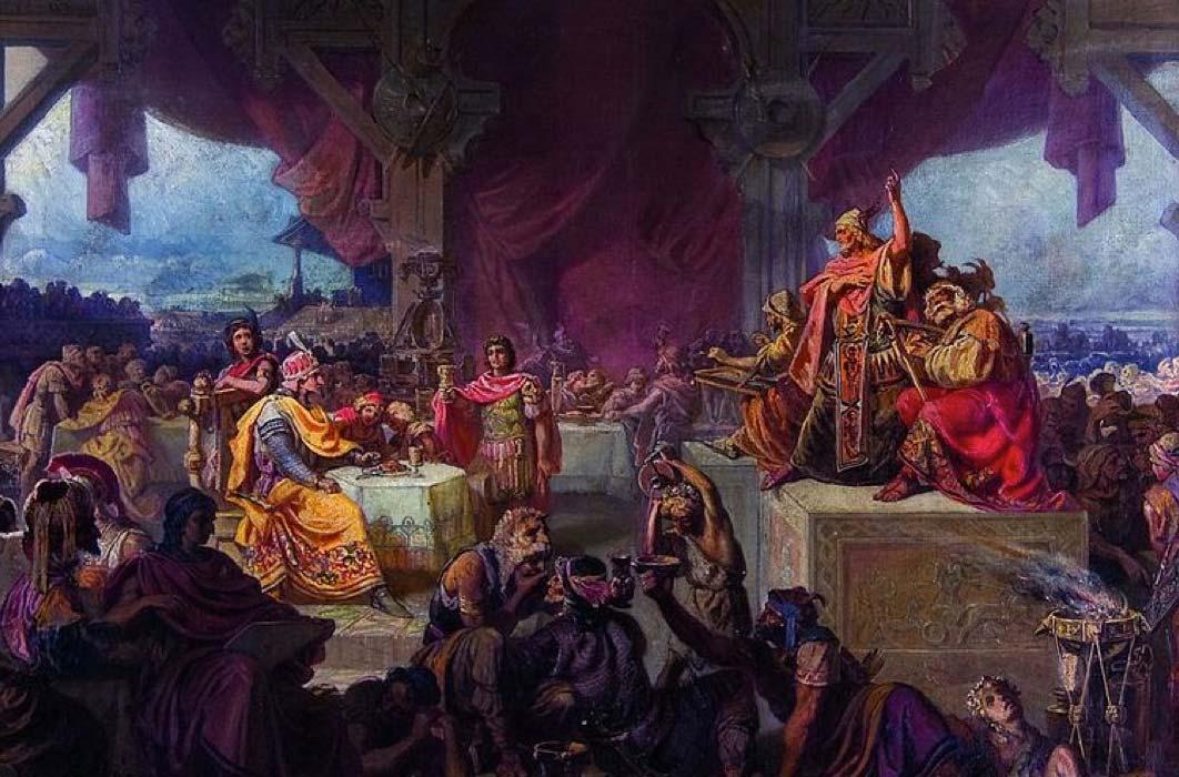 The Feast of Attila by Ede Heinrich (1863) (Public Domain)