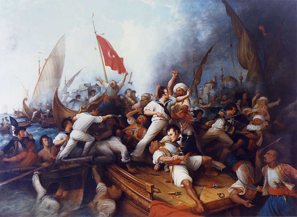 Decatur Boarding the Tripolitan Gunboat during the bombardment of Tripoli, 3 August 1804. Lieutenant Stephen Decatur (lower right center) in mortal combat with the Tripolitan Captain by Dennis Malone Carter (19th century) (Public Domain)