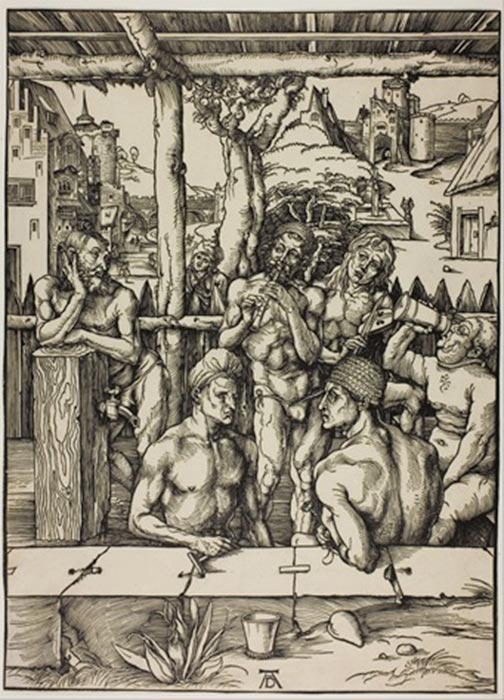 The Men's Bath by Albrecht Dürer (circa 1496-1497) (Public Domain)