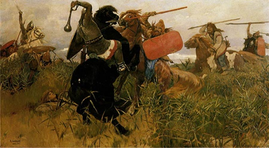 Battle between the Scythians and the Slavs by Viktor Vasnetsov (1881) (Public Domain)