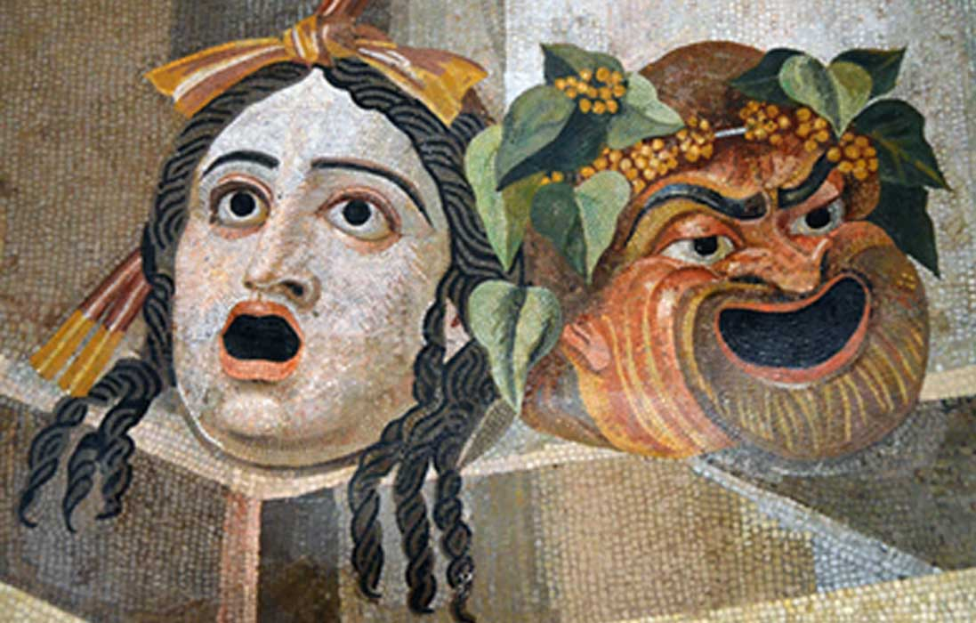 Theatrical masks of Tragedy and Comedy. Mosaic, Roman artwork, 2nd century CE. Capitoline Museums, Rome, Italy