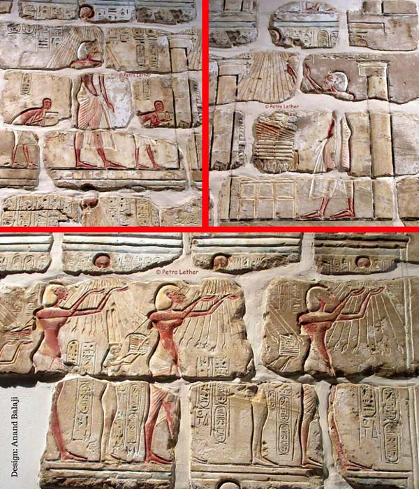 Brilliantly painted Talatat blocks reveal a glimpse of the splendor of Amarna art. (Top) In his role as High Priest, Akhenaten makes offerings of food and worships the Aten. In the scene below, the pharaoh revels in the rays of the sun as he venerates the solar disc. Luxor Museum. (Photos: Petra Lether)
