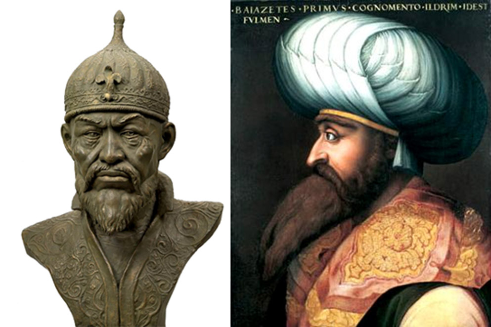 Bust of Timur [left] (CC BY-SA 3.0), and portrait of Bayezid I [right]. (Public Domain)