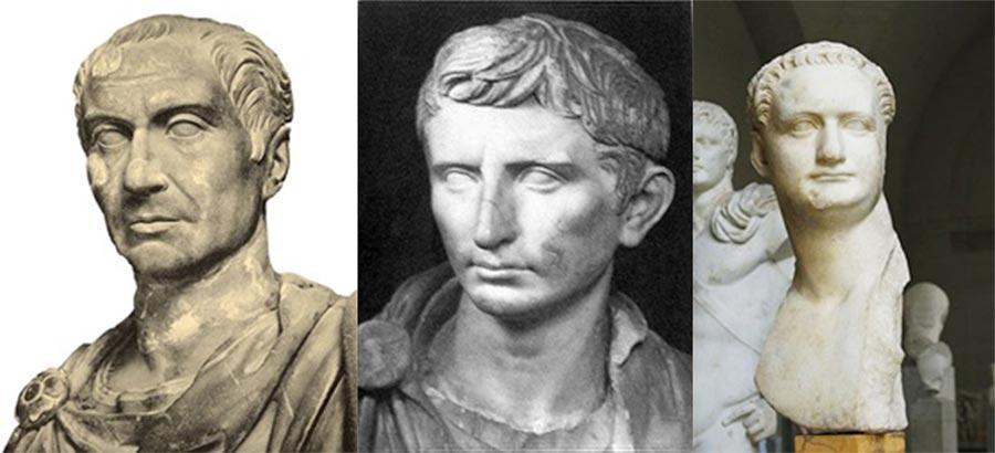 Caesar (Public Domain); Augustus (Museo Capitolino of Rome/Public Domain); Domitian (José Luiz Bernardes Ribeiro/CC BY-SA 4.0)