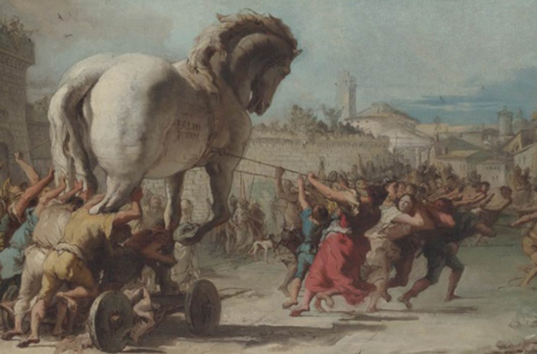 The Procession of the Trojan Horse in Troy by Giovanni Domenico Tiepolo  (1760)(Public Domain)