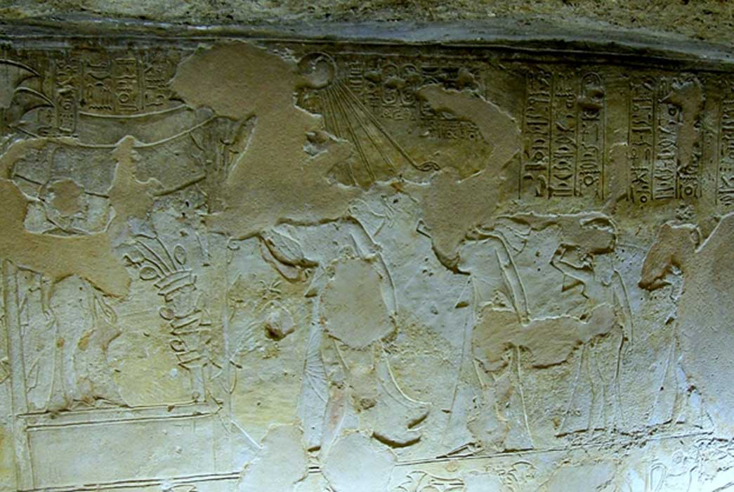 The 'mourning scene' on the East wall in the Royal Tomb at El-Amarna (TA 26B - Chamber gamma). Akhenaten is shown leading the royal family in grieving the death of Princess Meketaten, their second daughter, who stands inside a pavilion associated with childbirth. Julian Tuffs.