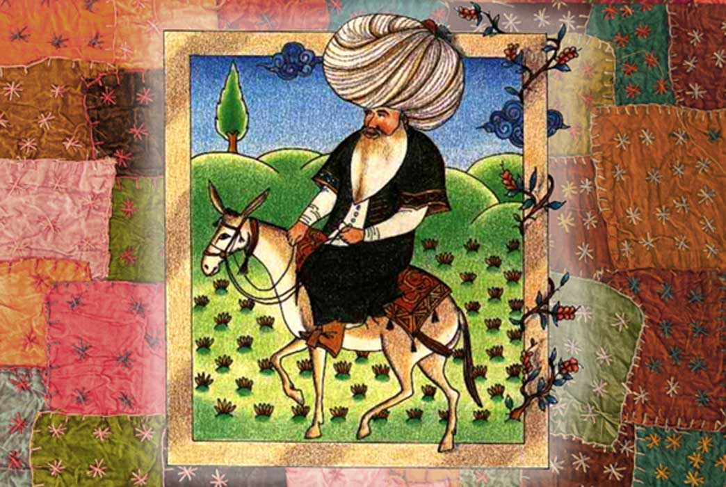 A 17th century miniature of Nasreddin (CC BY-SA 3.0) and patchwork Turkish rug (CC BY 2.0); Deriv.