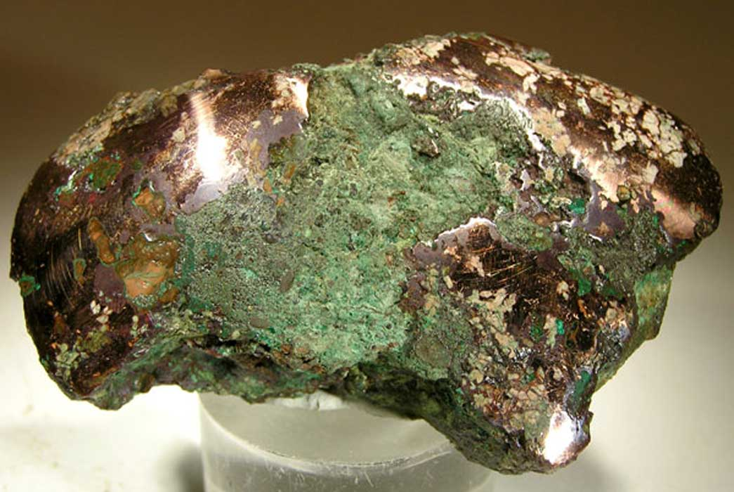 Native copper nugget from glacial drift, Ontonagon County, Michigan. An example of the raw material worked by the people of the Old Copper Complex