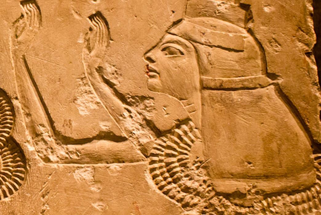 Detail, limestone relief depicting Vizier Aye's wife Tey.