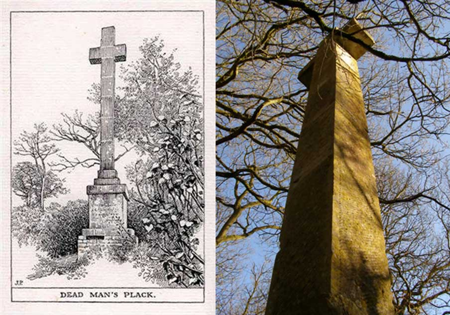 Drawing of Dead Man's Plack (Public Domain) and photo at the site, dated 1835; erected to the memory of Earl Athelwold who was killed here by King Edgar AD963. (Jim Champion/CC BY-SA 2.0)