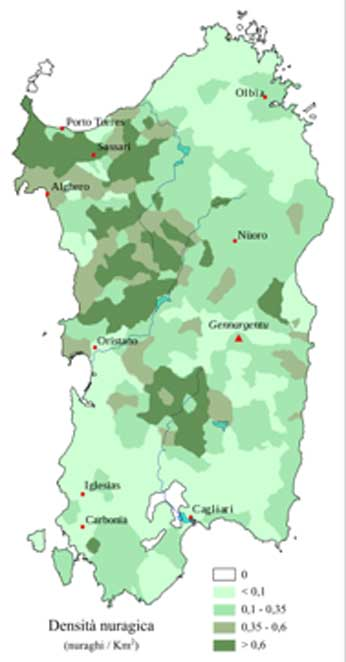Density map of nuraghes on Sardinia per square kilometer (Fulvio314/ CC BY-SA 3.0)