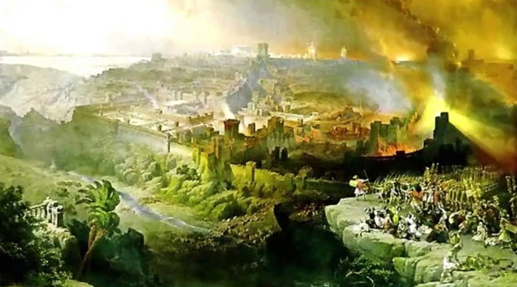 The Siege and Destruction of Jerusalem by the Romans Under the Command of Titus, A.D. 70, by David Roberts (1850), shows the city burning.
