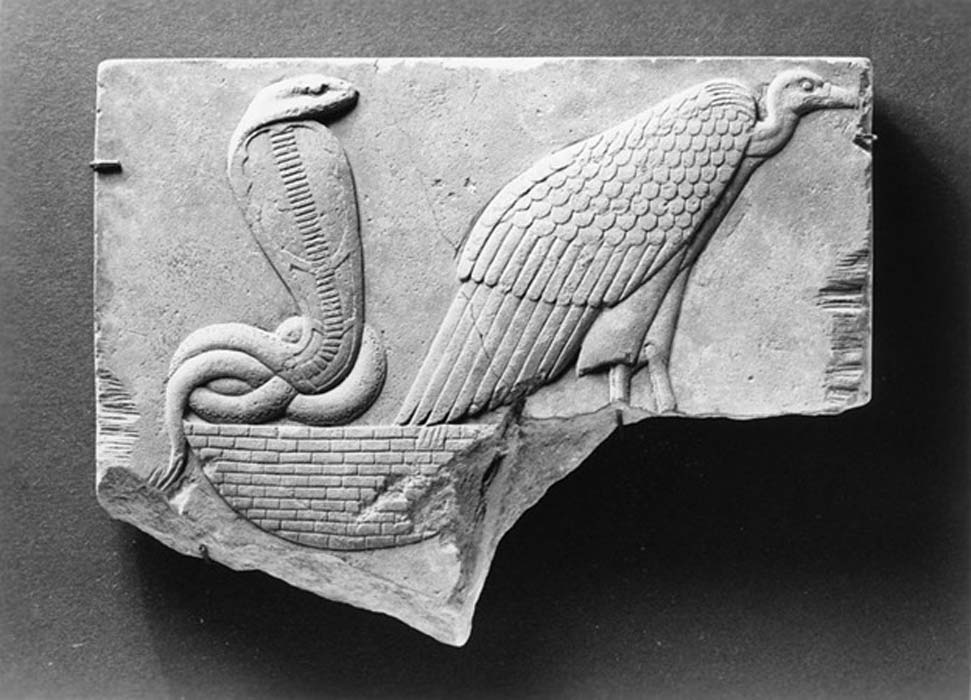 Egyptian - Model of a Vulture and Uraeus Seated on a Basket (Walters Art Museum) (Public Domain)