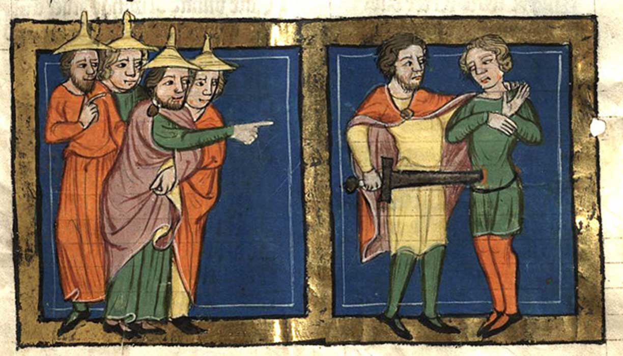 Miniature depicting Ehud murdering King Eglon by Rudolf von Ems (1350 to 1375)