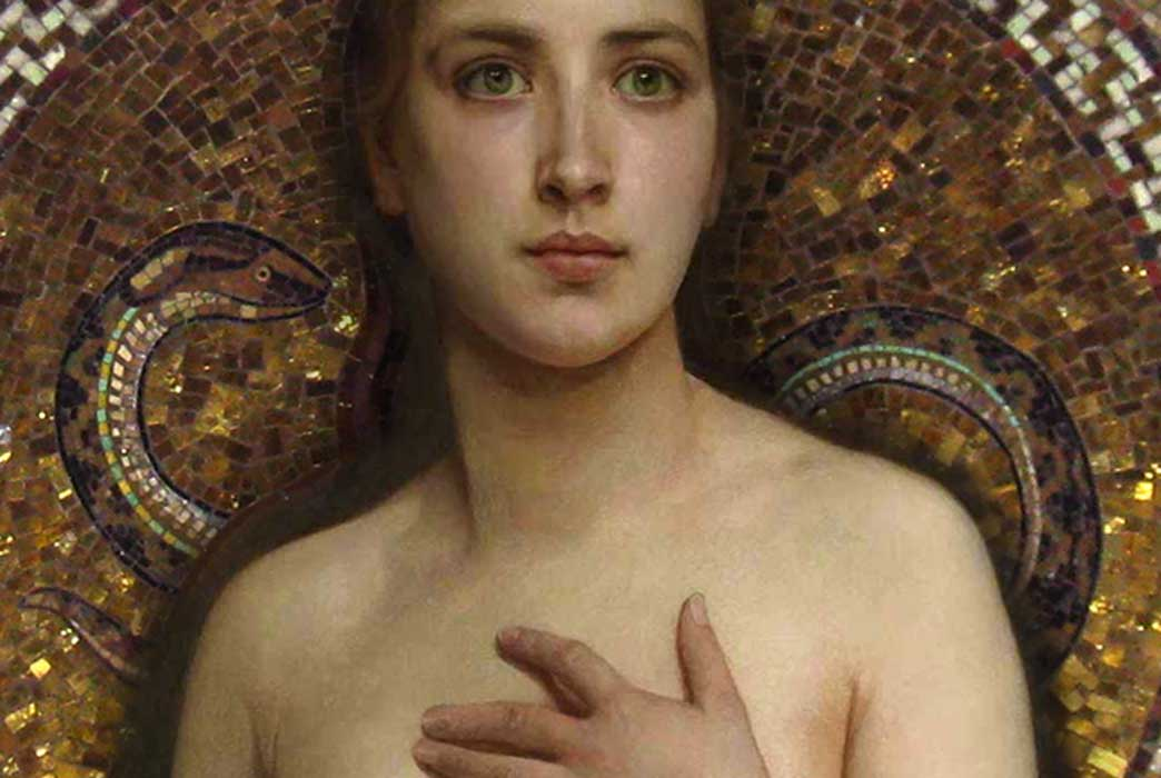 Pandora, Bouguereau, 1890 (Public Domain) and mosaic of Eve and snake